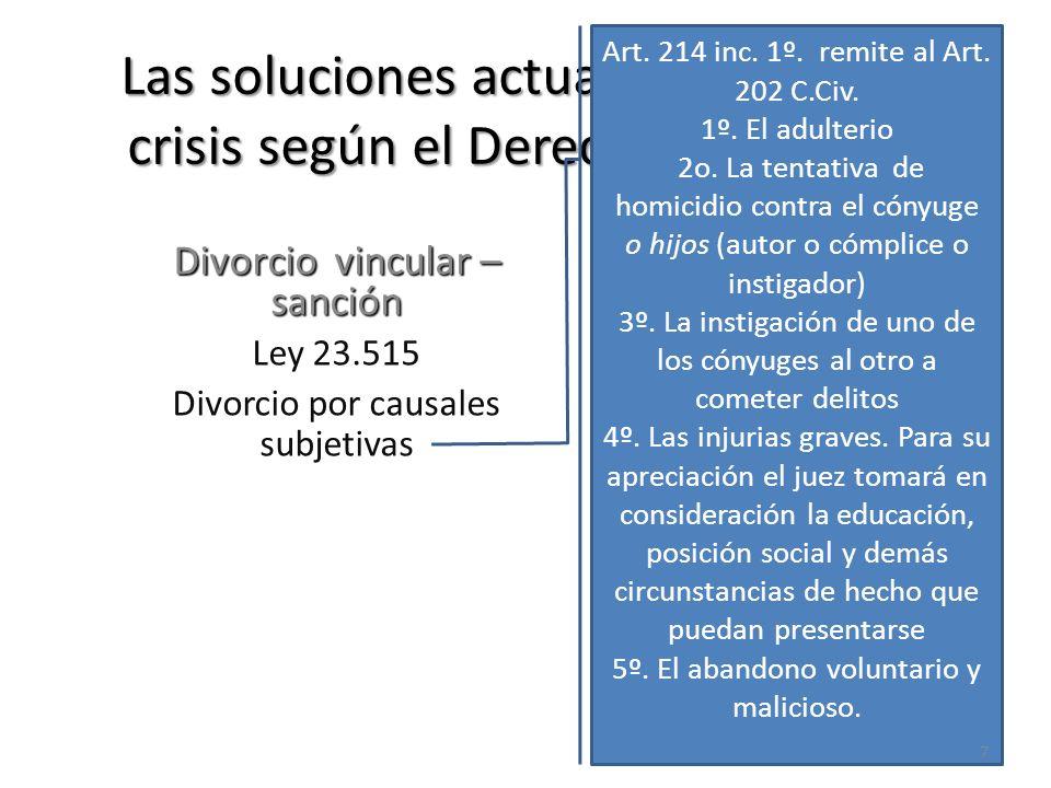 Las soluciones actuales frente a la crisis según el Derecho Argentino Divorcio vincular – sanción Ley 23.515 Divorcio por causales subjetivas Art. 214