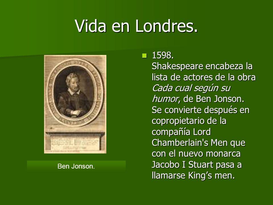 Vida en Londres. 1596 Con 11 años murió su hijo Hamnet. Algunos críticos sostienen que esto pudo haber inspirado a Shakespeare a la creación de Hamlet