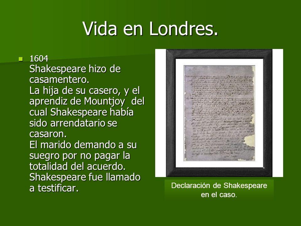 1598. Shakespeare encabeza la lista de actores de la obra Cada cual según su humor, de Ben Jonson. Se convierte después en copropietario de la compañí