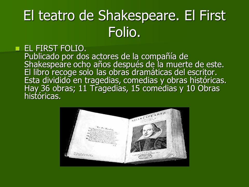El teatro de Shakespeare. El First Folio El First Folio El First Folio El First Folio –Tragedias Tragedias –Comedias Comedias –Obras históricas Obras