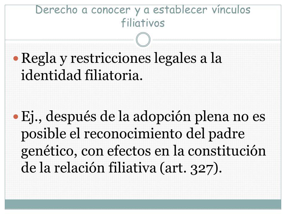 Derecho a conocer y a establecer vínculos filiativos Regla y restricciones legales a la identidad filiatoria. Ej., después de la adopción plena no es