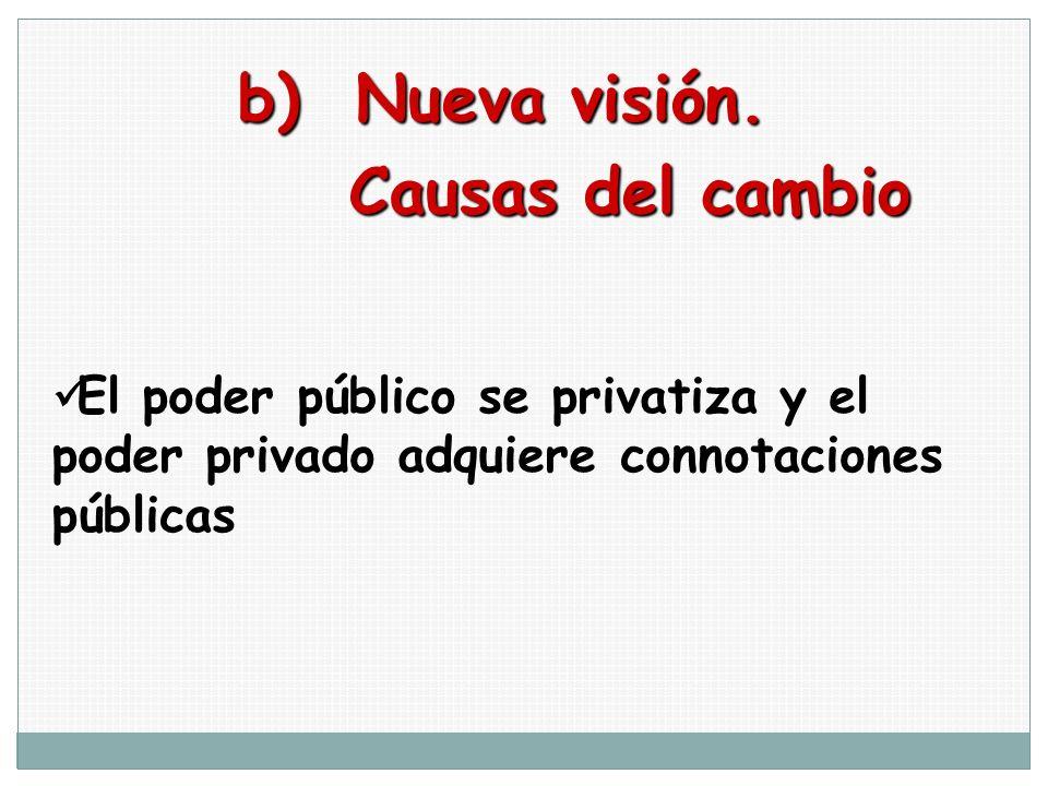 b) Nueva visión. Causas del cambio Causas del cambio El poder público se privatiza y el poder privado adquiere connotaciones públicas