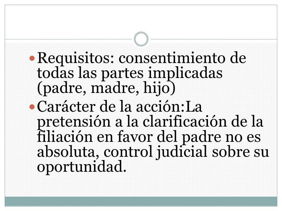 Requisitos: consentimiento de todas las partes implicadas (padre, madre, hijo) Carácter de la acción:La pretensión a la clarificación de la filiación