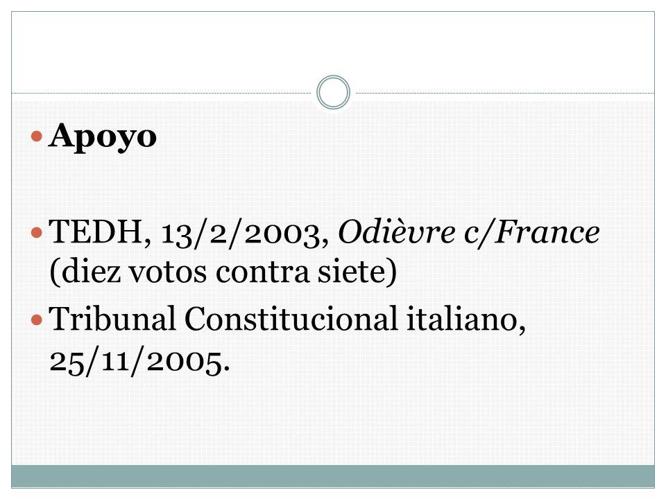 Apoyo TEDH, 13/2/2003, Odièvre c/France (diez votos contra siete) Tribunal Constitucional italiano, 25/11/2005.