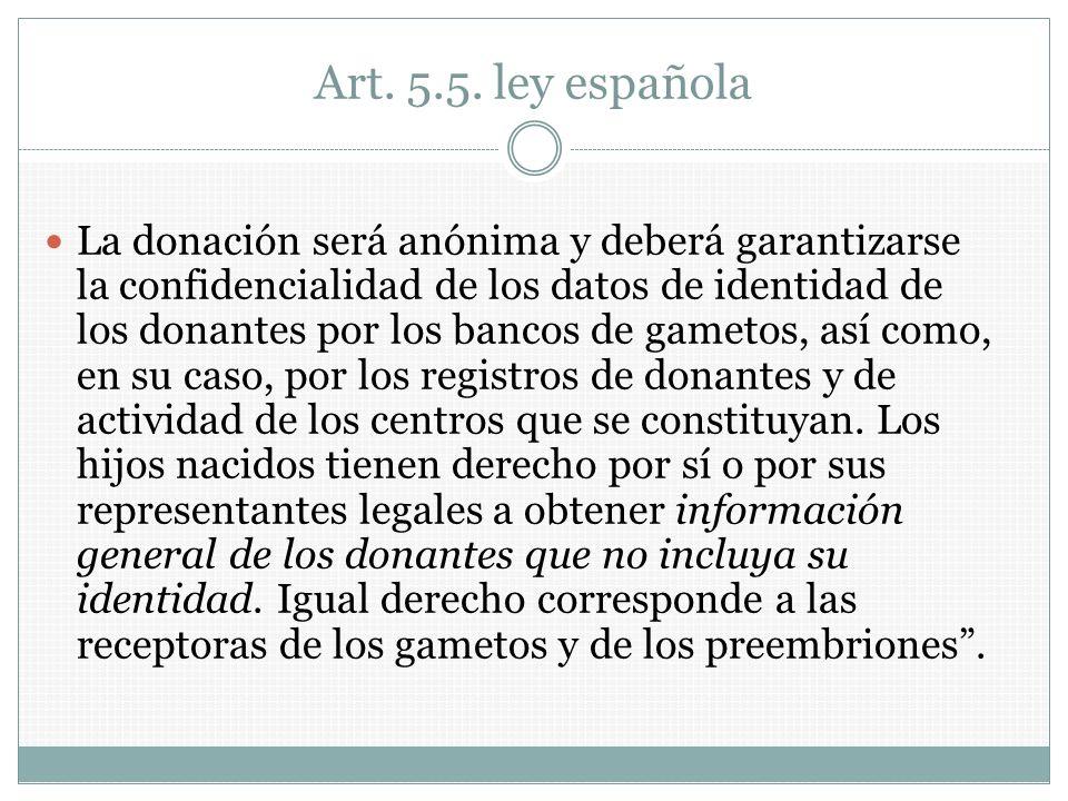 Art. 5.5. ley española La donación será anónima y deberá garantizarse la confidencialidad de los datos de identidad de los donantes por los bancos de