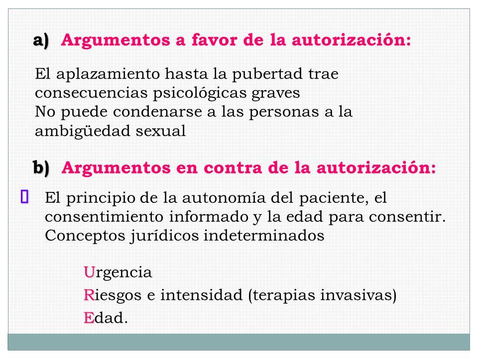 a) a) Argumentos a favor de la autorización: El aplazamiento hasta la pubertad trae consecuencias psicológicas graves No puede condenarse a las person