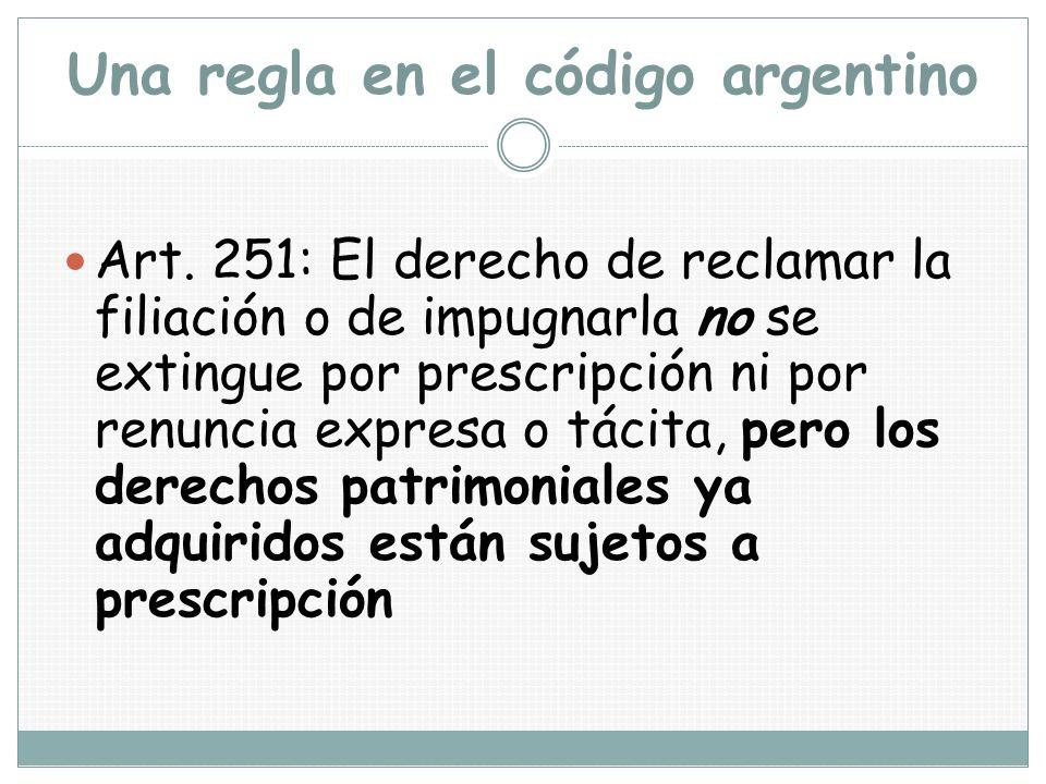 Una regla en el código argentino Art. 251: El derecho de reclamar la filiación o de impugnarla no se extingue por prescripción ni por renuncia expresa