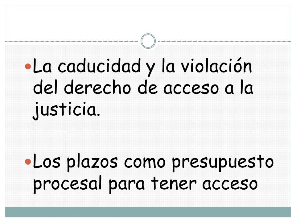 La caducidad y la violación del derecho de acceso a la justicia. Los plazos como presupuesto procesal para tener acceso
