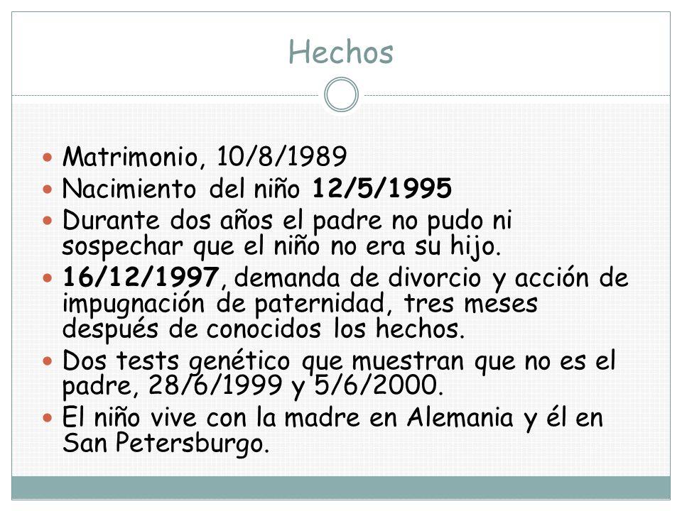 Hechos Matrimonio, 10/8/1989 Nacimiento del niño 12/5/1995 Durante dos años el padre no pudo ni sospechar que el niño no era su hijo. 16/12/1997, dema
