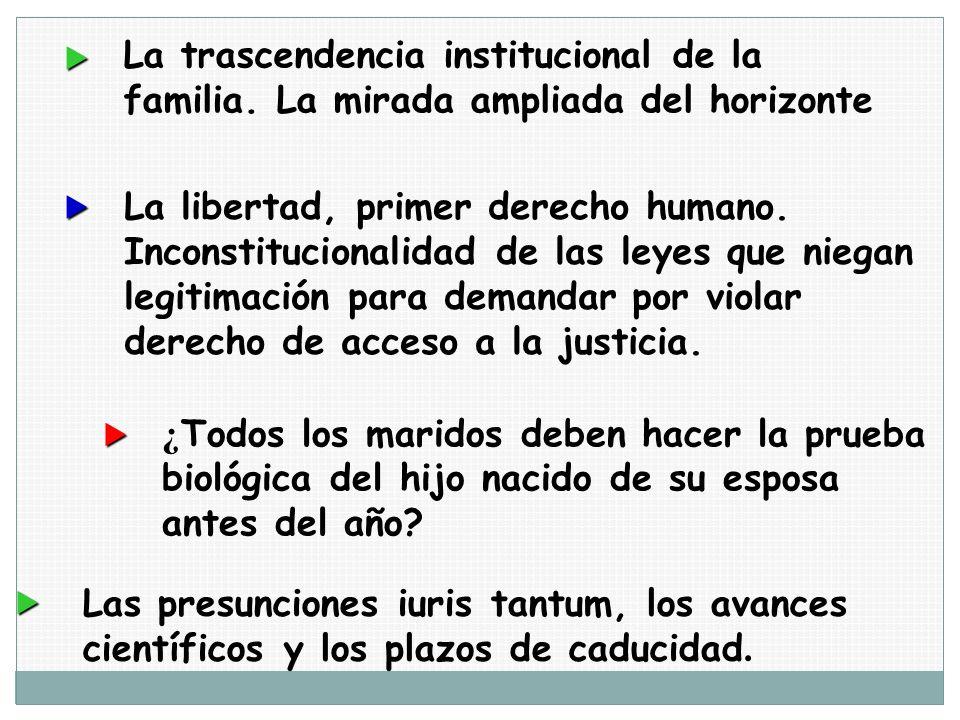 La trascendencia institucional de la familia. La mirada ampliada del horizonte La libertad, primer derecho humano. Inconstitucionalidad de las leyes q
