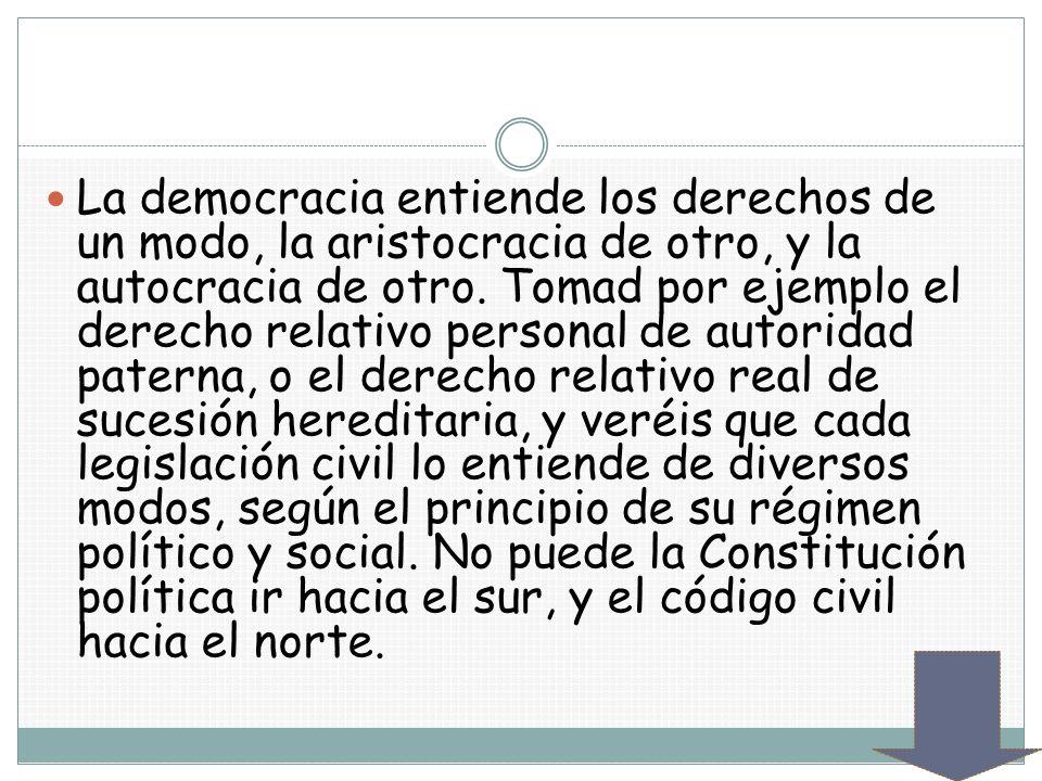La democracia entiende los derechos de un modo, la aristocracia de otro, y la autocracia de otro. Tomad por ejemplo el derecho relativo personal de au