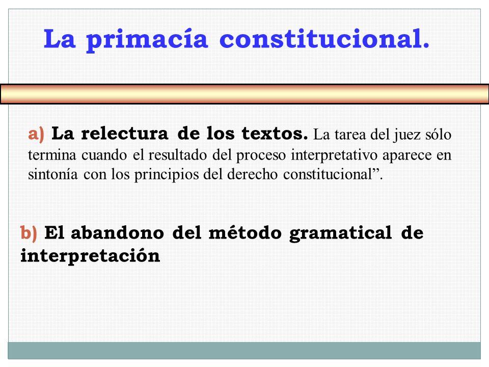 a) La relectura de los textos. La tarea del juez sólo termina cuando el resultado del proceso interpretativo aparece en sintonía con los principios de