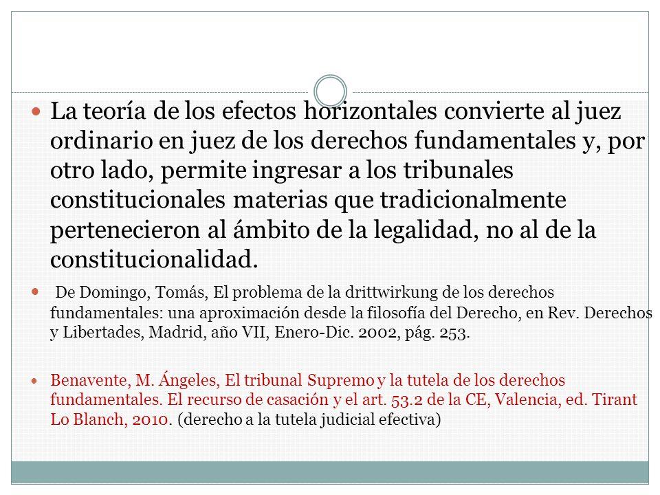 La teoría de los efectos horizontales convierte al juez ordinario en juez de los derechos fundamentales y, por otro lado, permite ingresar a los tribu