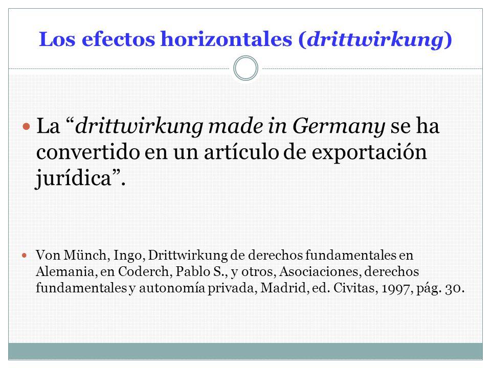 Los efectos horizontales (drittwirkung) La drittwirkung made in Germany se ha convertido en un artículo de exportación jurídica. Von Münch, Ingo, Drit