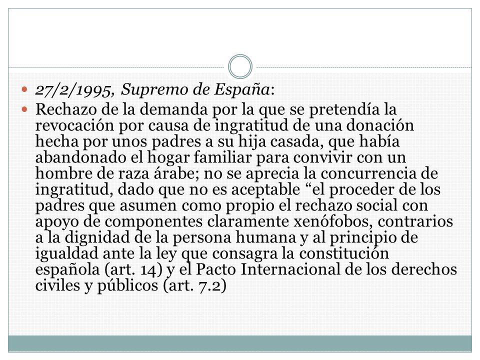 27/2/1995, Supremo de España: Rechazo de la demanda por la que se pretendía la revocación por causa de ingratitud de una donación hecha por unos padre