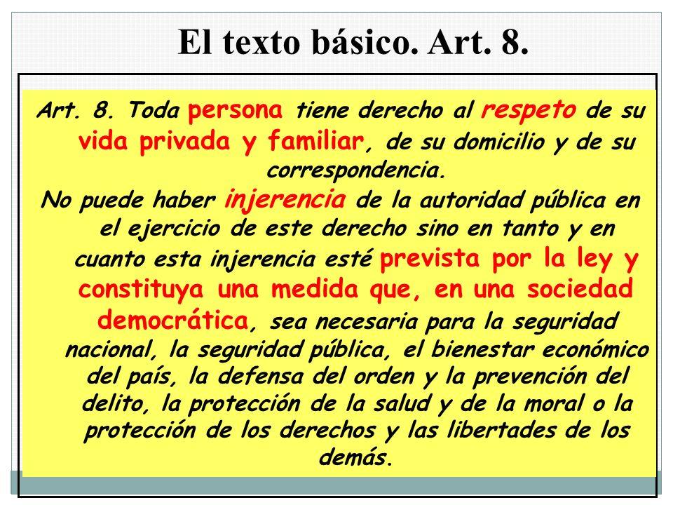 El texto básico. Art. 8. Art. 8. Toda persona tiene derecho al respeto de su vida privada y familiar, de su domicilio y de su correspondencia. No pued