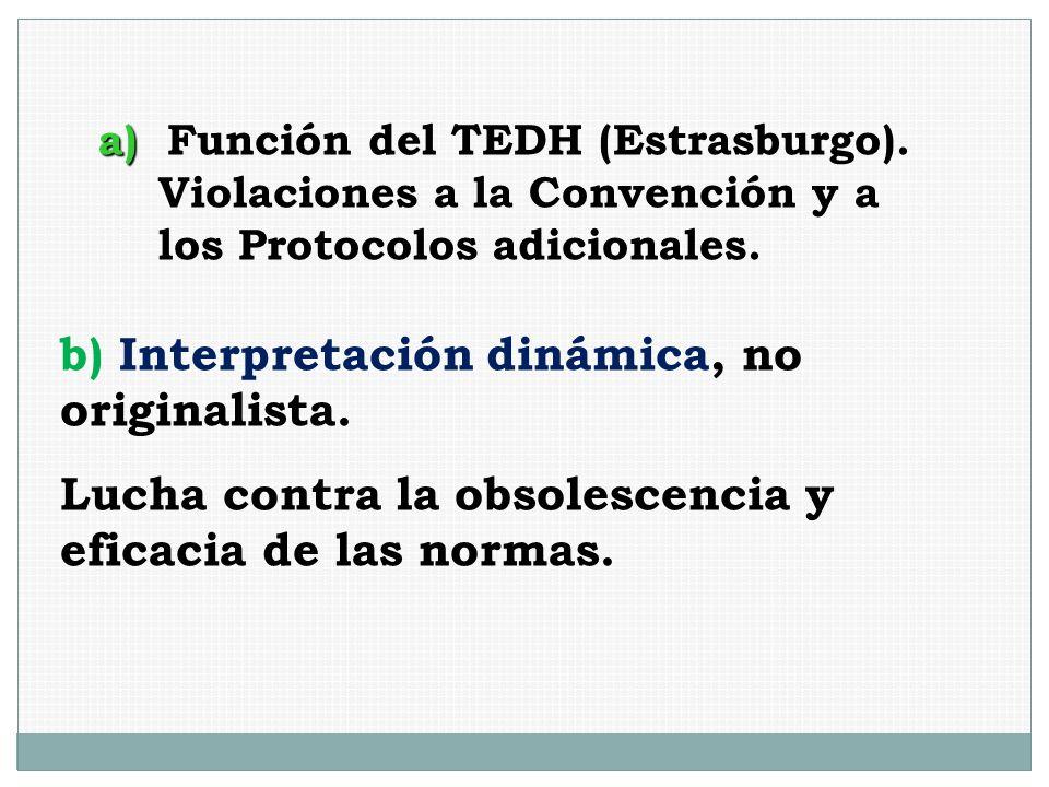 a) a) Función del TEDH (Estrasburgo). Violaciones a la Convención y a los Protocolos adicionales. b) Interpretación dinámica, no originalista. Lucha c