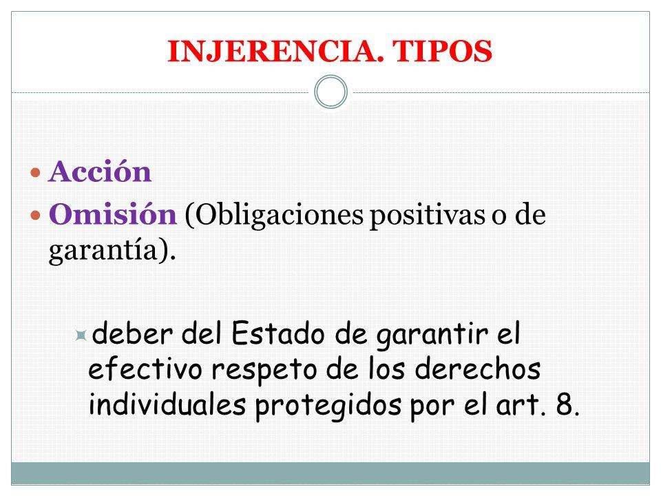 INJERENCIA. TIPOS Acción Omisión (Obligaciones positivas o de garantía). deber del Estado de garantir el efectivo respeto de los derechos individuales