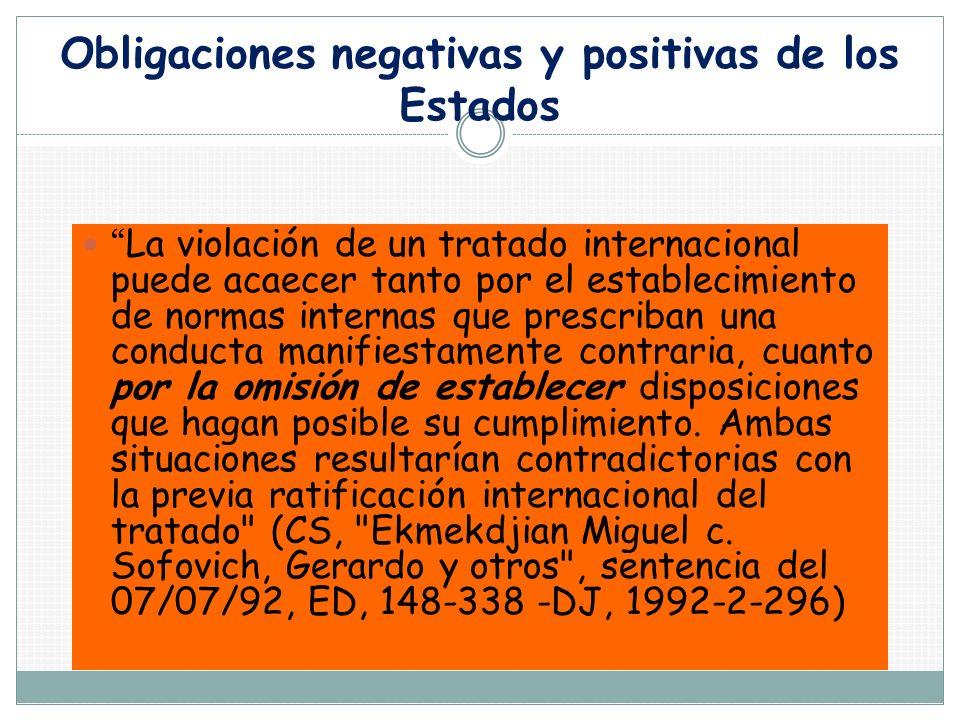 Obligaciones negativas y positivas de los Estados La violación de un tratado internacional puede acaecer tanto por el establecimiento de normas intern
