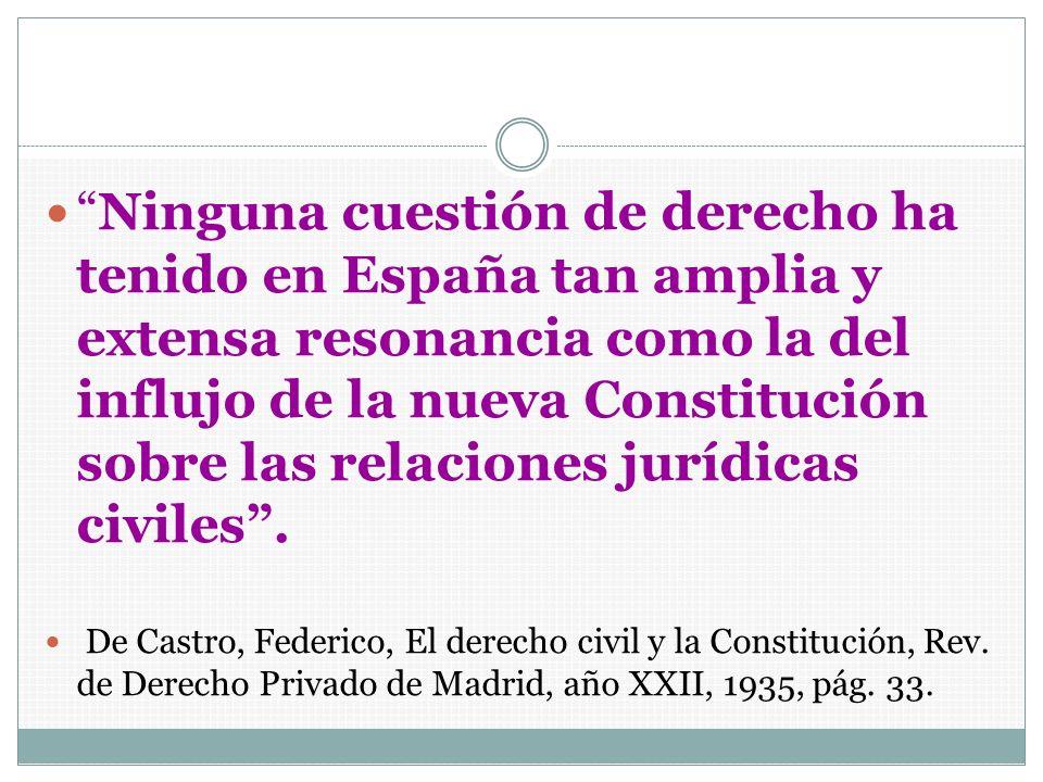 Ninguna cuestión de derecho ha tenido en España tan amplia y extensa resonancia como la del influjo de la nueva Constitución sobre las relaciones jurí