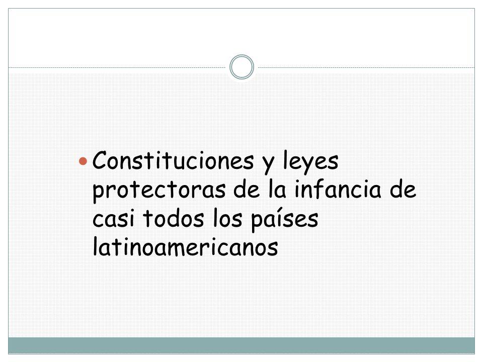 Constituciones y leyes protectoras de la infancia de casi todos los países latinoamericanos