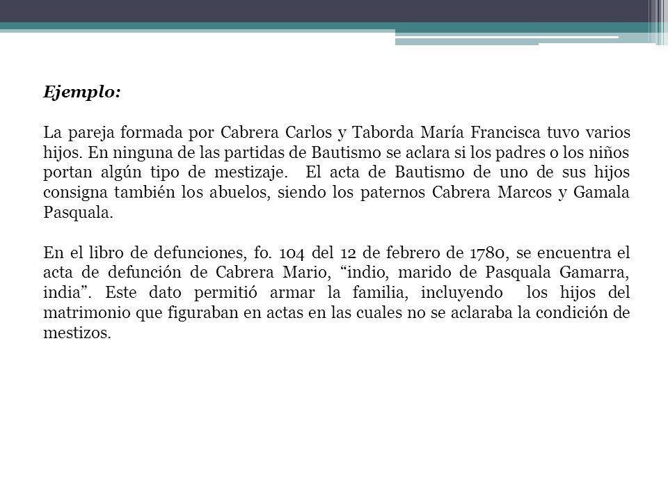 Ejemplo: La pareja formada por Cabrera Carlos y Taborda María Francisca tuvo varios hijos. En ninguna de las partidas de Bautismo se aclara si los pad