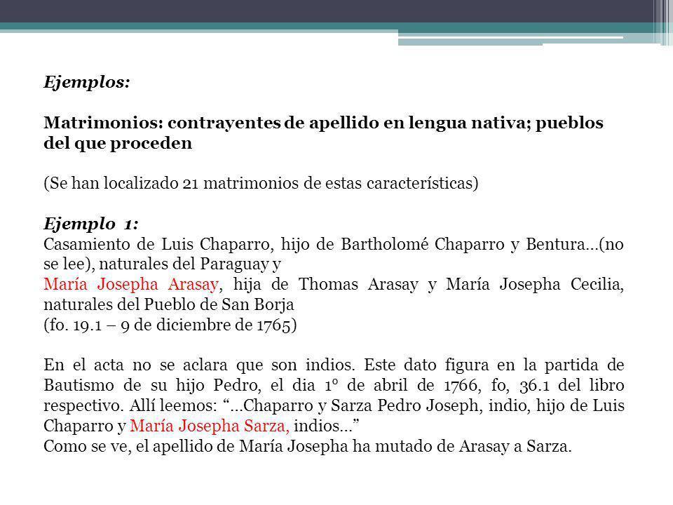 Ejemplos: Matrimonios: contrayentes de apellido en lengua nativa; pueblos del que proceden (Se han localizado 21 matrimonios de estas características)