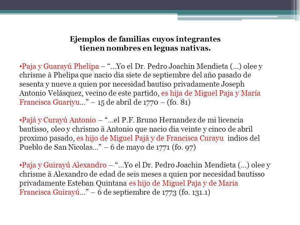 Ejemplos de familias cuyos integrantes tienen nombres en leguas nativas. Paja y Guarayú Phelipa – …Yo el Dr. Pedro Joachin Mendieta (…) olee y chrisme