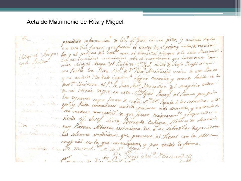 Acta de Matrimonio de Rita y Miguel