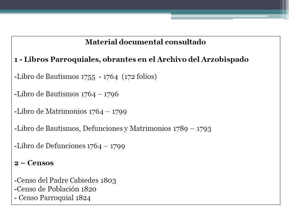 Material documental consultado 1 - Libros Parroquiales, obrantes en el Archivo del Arzobispado -Libro de Bautismos 1755 - 1764 (172 folios) -Libro de