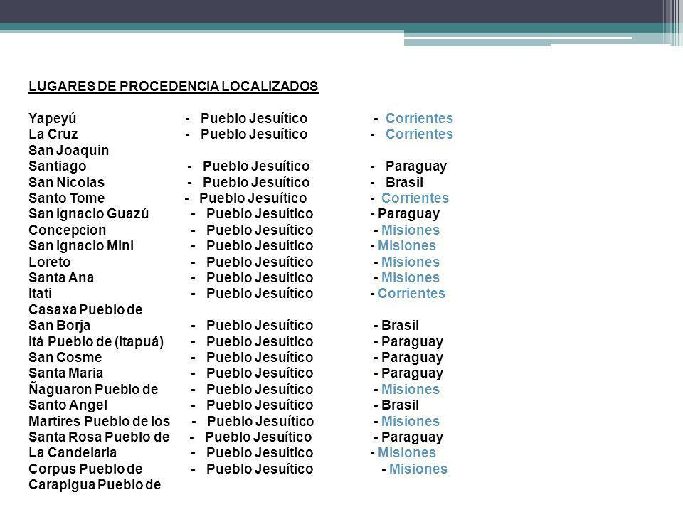 LUGARES DE PROCEDENCIA LOCALIZADOS Yapeyú - Pueblo Jesuítico - Corrientes La Cruz - Pueblo Jesuítico - Corrientes San Joaquin Santiago - Pueblo Jesuít