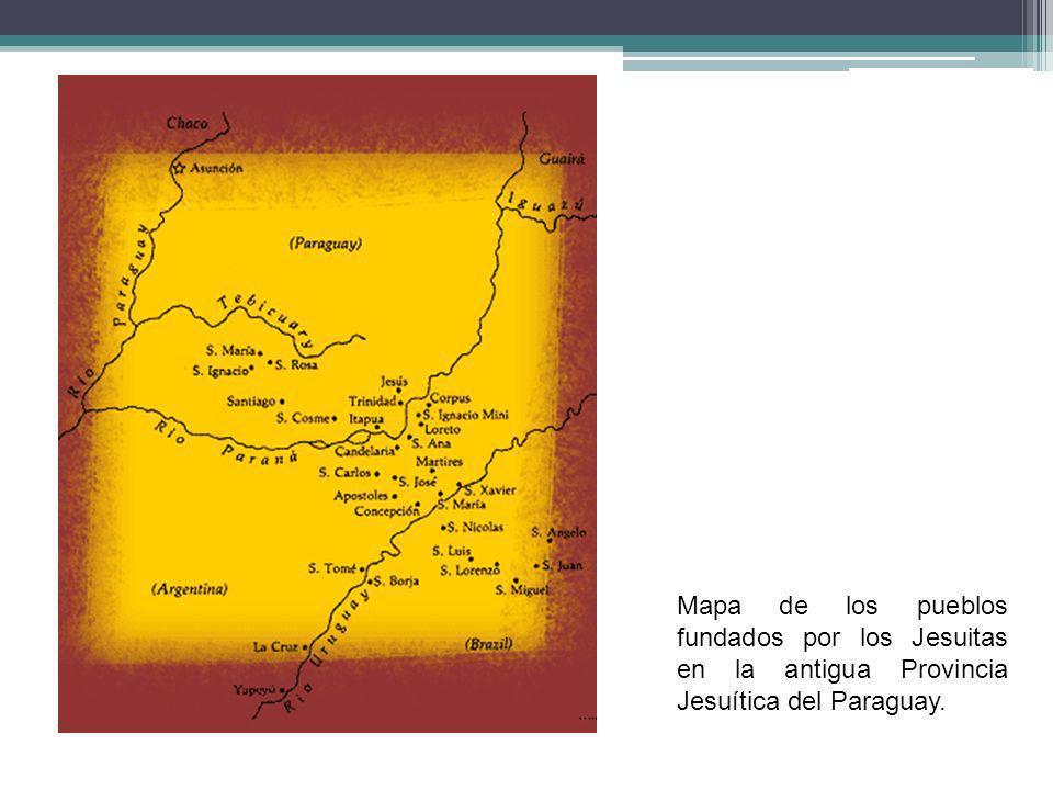 Mapa de los pueblos fundados por los Jesuitas en la antigua Provincia Jesuítica del Paraguay.