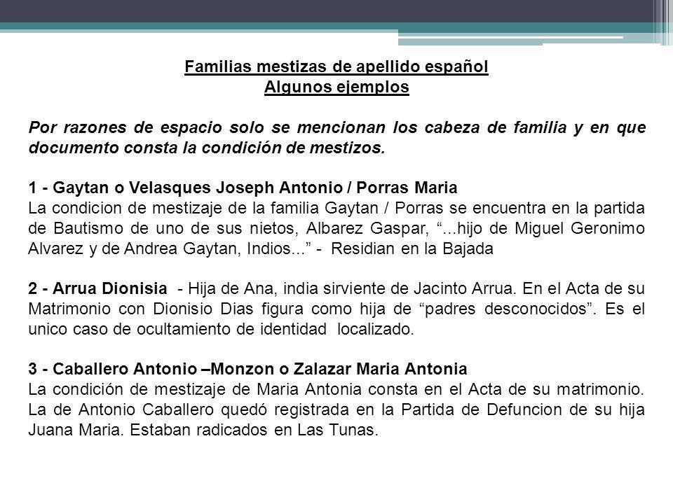 Familias mestizas de apellido español Algunos ejemplos Por razones de espacio solo se mencionan los cabeza de familia y en que documento consta la con