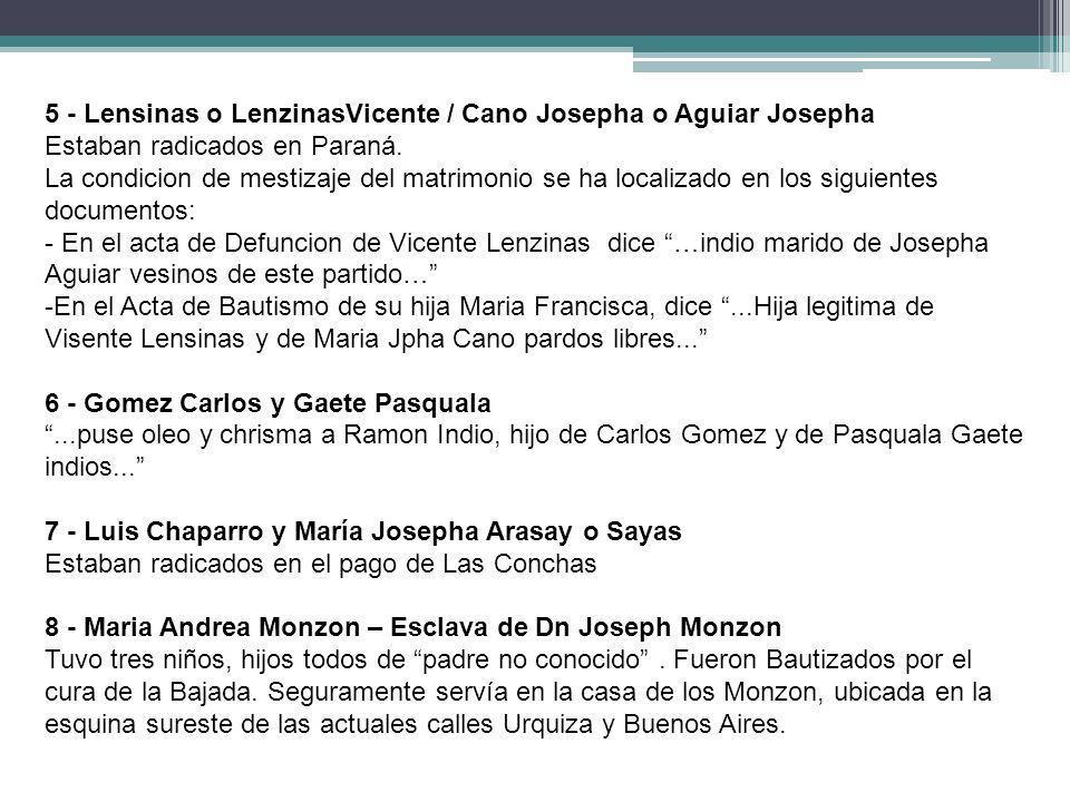 5 - Lensinas o LenzinasVicente / Cano Josepha o Aguiar Josepha Estaban radicados en Paraná. La condicion de mestizaje del matrimonio se ha localizado