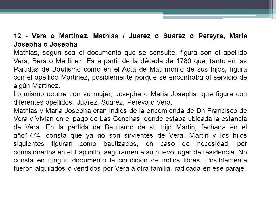12 - Vera o Martinez, Mathias / Juarez o Suarez o Pereyra, Maria Josepha o Josepha Mathias, segun sea el documento que se consulte, figura con el apel