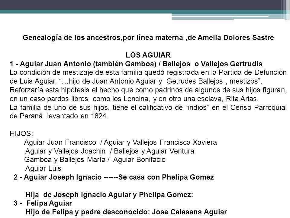Genealogía de los ancestros,por línea materna,de Amelia Dolores Sastre LOS AGUIAR 1 - Aguiar Juan Antonio (también Gamboa) / Ballejos o Vallejos Gertr