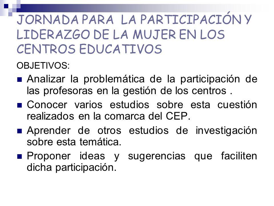 JORNADA PARA LA PARTICIPACIÓN Y LIDERAZGO DE LA MUJER EN LOS CENTROS EDUCATIVOS OBJETIVOS: Analizar la problemática de la participación de las profesoras en la gestión de los centros.