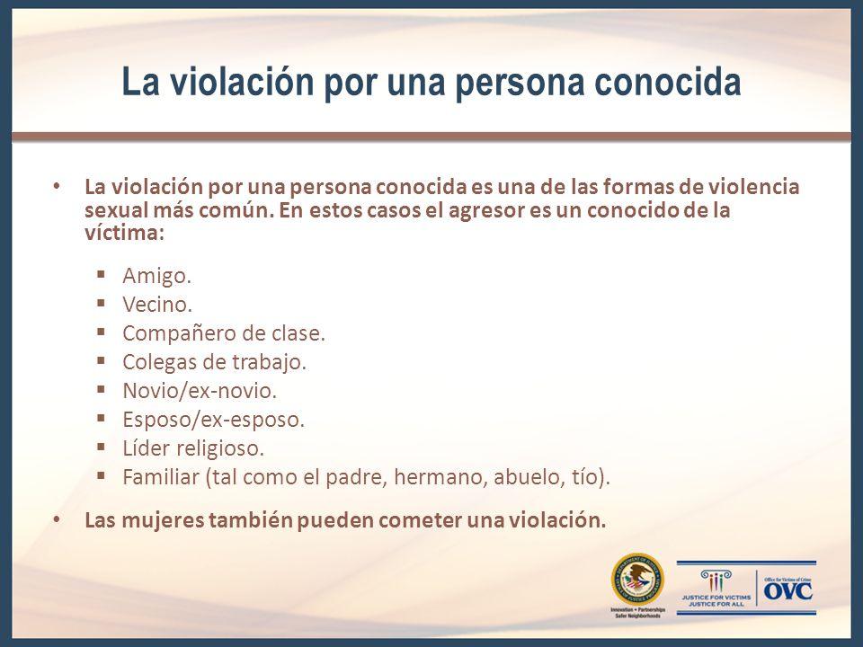 La violación por una persona conocida La violación por una persona conocida es una de las formas de violencia sexual más común. En estos casos el agre