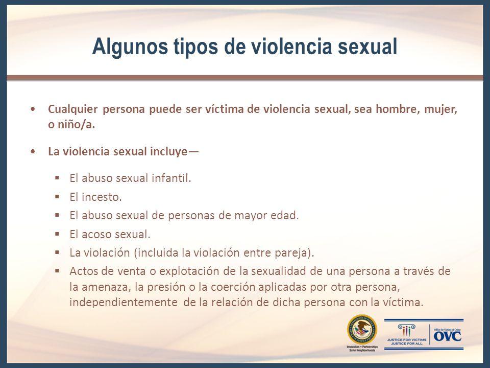 Algunos tipos de violencia sexual Cualquier persona puede ser víctima de violencia sexual, sea hombre, mujer, o niño/a. La violencia sexual incluye El