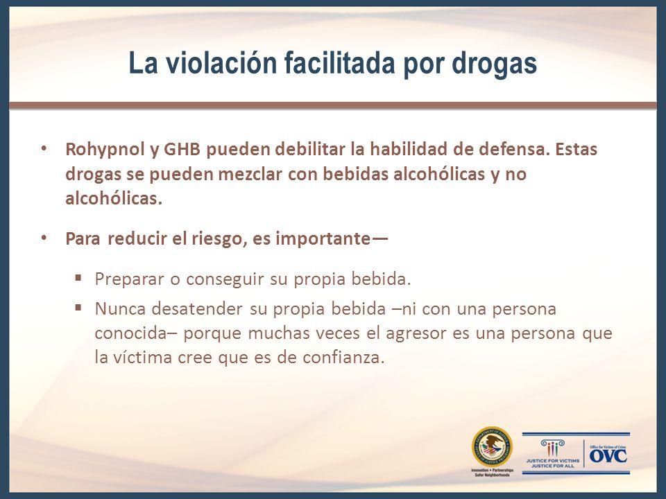 La violación facilitada por drogas Rohypnol y GHB pueden debilitar la habilidad de defensa. Estas drogas se pueden mezclar con bebidas alcohólicas y n