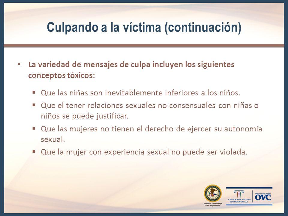 Culpando a la víctima (continuación) La variedad de mensajes de culpa incluyen los siguientes conceptos tóxicos: Que las niñas son inevitablemente inferiores a los niños.
