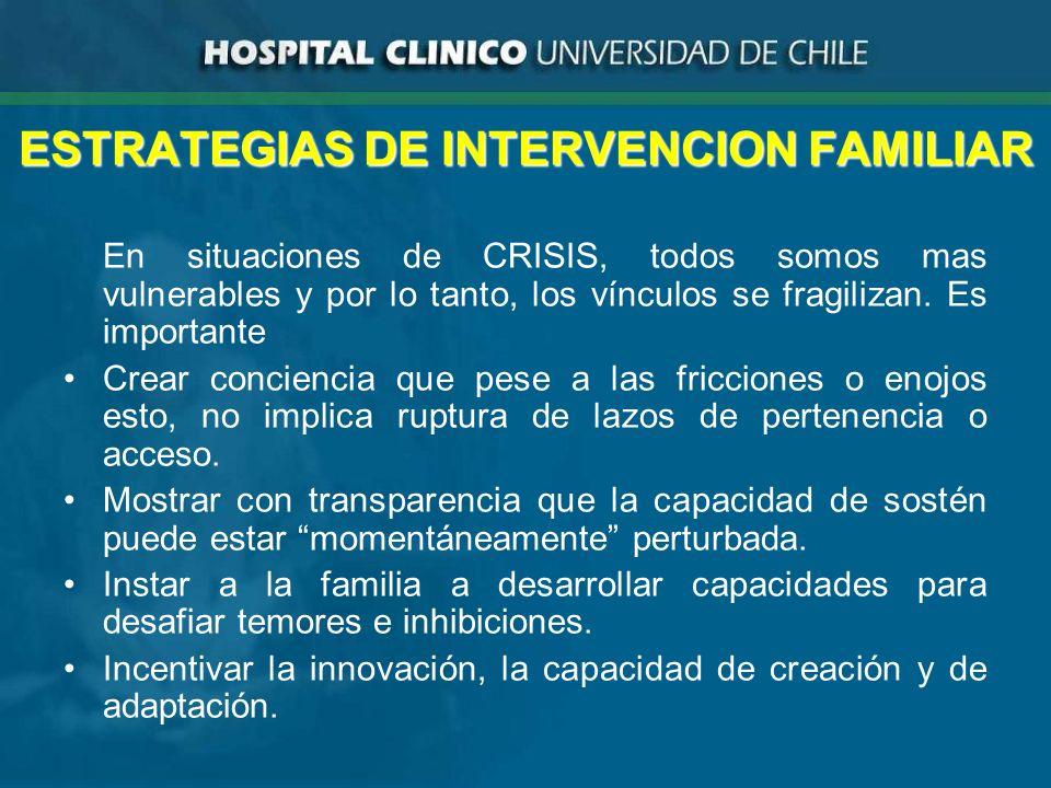 ESTRATEGIAS DE INTERVENCION FAMILIAR En situaciones de CRISIS, todos somos mas vulnerables y por lo tanto, los vínculos se fragilizan.