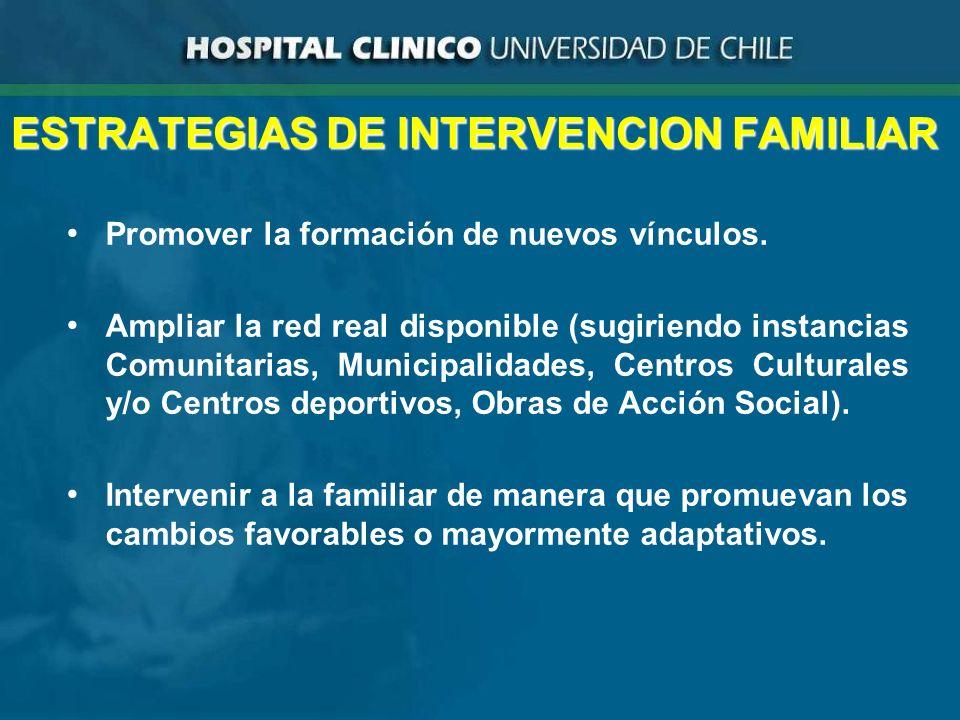 ESTRATEGIAS DE INTERVENCION FAMILIAR Promover la formación de nuevos vínculos.