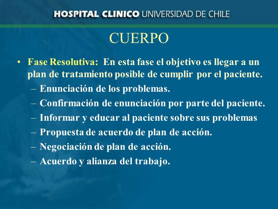 CUERPO Fase Resolutiva: En esta fase el objetivo es llegar a un plan de tratamiento posible de cumplir por el paciente.