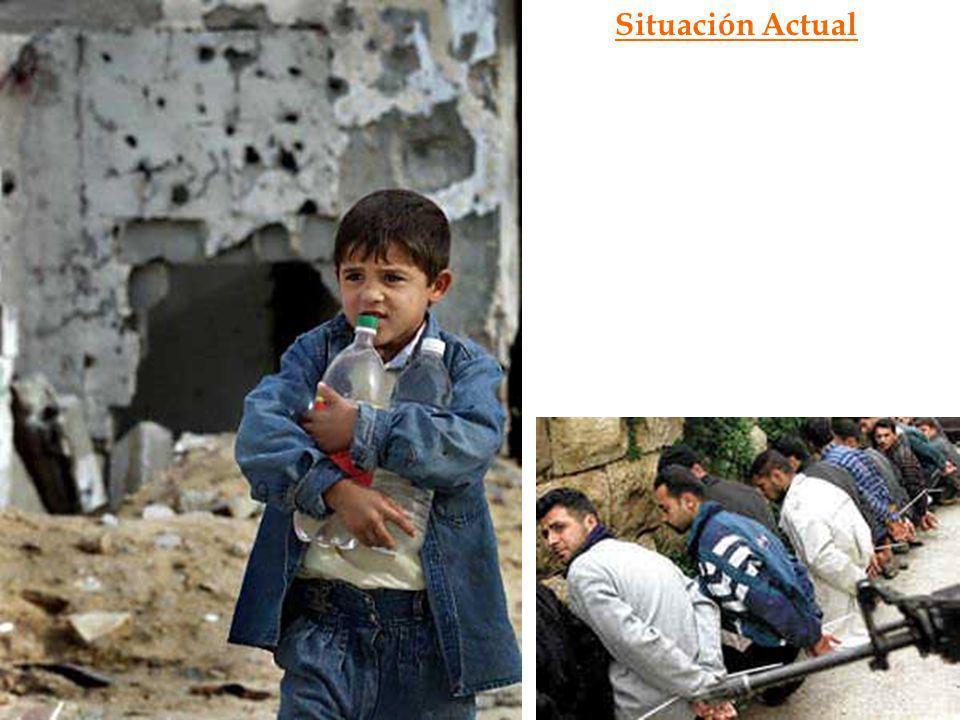 Situación Actual Desde esa fecha, y hasta el día de hoy, la población palestina está sobreviviendo con lo que puede, soportando -toques de queda duran