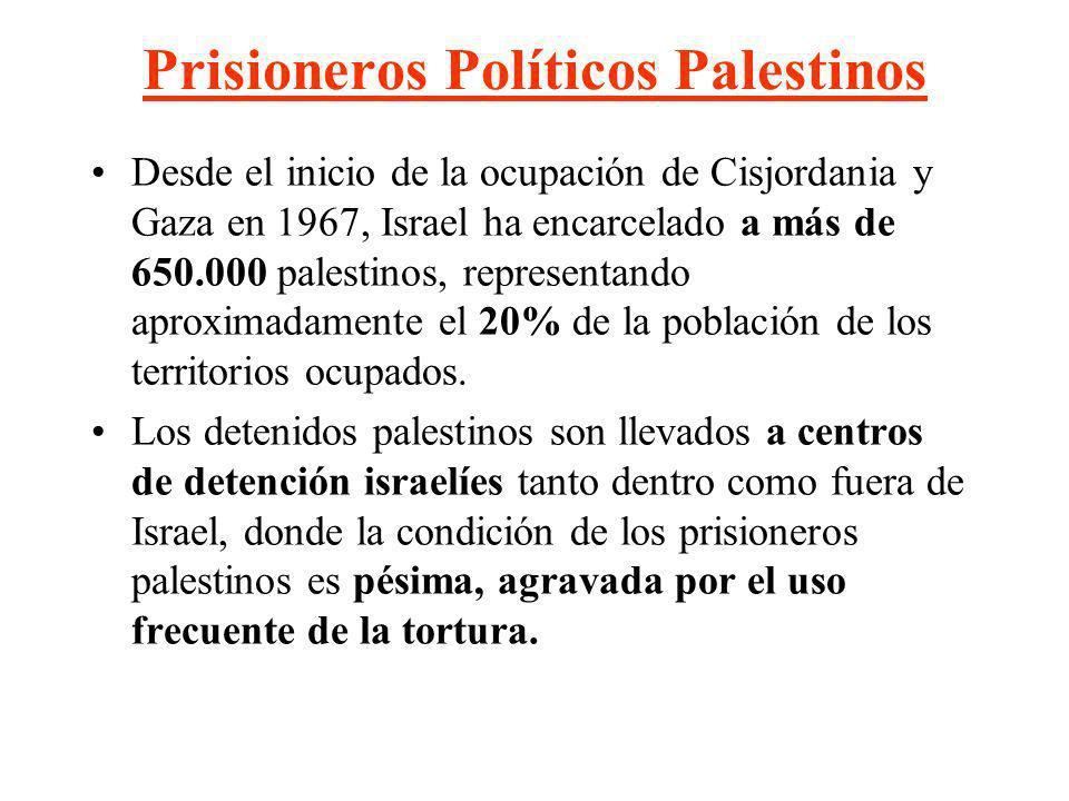 Prisioneros Políticos Palestinos Desde el inicio de la ocupación de Cisjordania y Gaza en 1967, Israel ha encarcelado a más de 650.000 palestinos, rep
