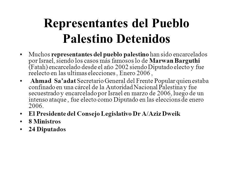 Representantes del Pueblo Palestino Detenidos Muchos representantes del pueblo palestino han sido encarcelados por Israel, siendo los casos más famoso