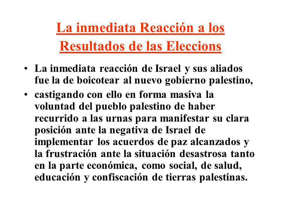 La inmediata Reacción a los Resultados de las Eleccions La inmediata reacción de Israel y sus aliados fue la de boicotear al nuevo gobierno palestino,