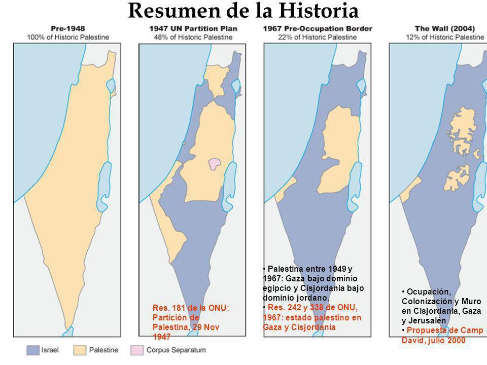 Resumen de la Historia Res. 181 de la ONU: Partición de Palestina, 29 Nov 1947 Palestina entre 1949 y 1967: Gaza bajo dominio egipcio y Cisjordania ba