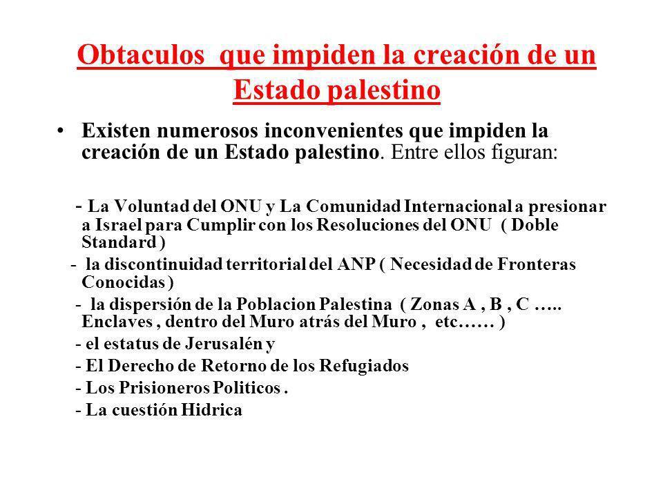 Obtaculos que impiden la creación de un Estado palestino Existen numerosos inconvenientes que impiden la creación de un Estado palestino. Entre ellos